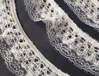Вязаное кружево с ажурным краем Белый
