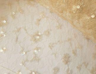 Сетка с цветочным рисунком расшитая пайетками (29007) Крем