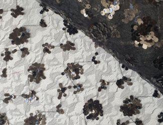 Сетка с цветочным рисунком, расшитая пайеткой(29007) Черный