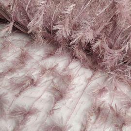"""Кружевная ткань """"Piuma"""" с имитацией пера (825) Фрезовый"""