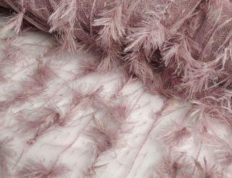 """Кружевная ткань """"Piuma"""" с имитацией пера, фрезовый"""
