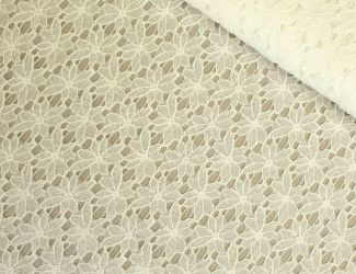 """Кружевная ткань """"Flora"""" с натуральной ниткой 2739_02 Молоко"""