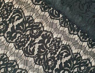 """Кружевная ткань """"Полоса"""" с кордовой нитью. Черный"""