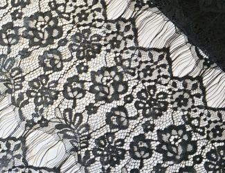 """Кружевная ткань """"Spring"""" с кордовой нитью. Черный"""