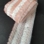 Тесьма с пайетками 4см Розовый-Белый