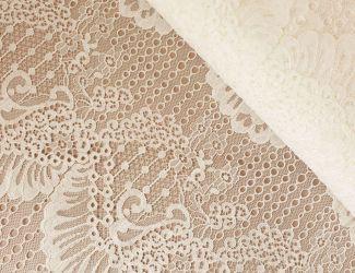 Кружевная ткань с кордовой нитью. Белый