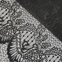 """Кружевная ткань """"SEASHELL"""" с кордовой нитью В222_01 Черный"""