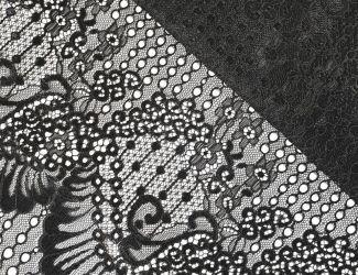Кружевная ткань с кордовой нитью. Черный