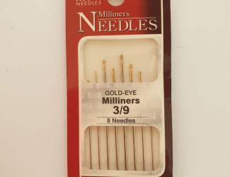 Иглы Regal для ручного шитья №300М  Milliners 3/9 Gold Eye