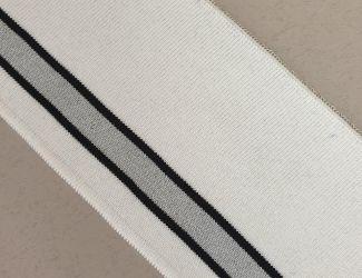 Манжет (довяз) трикотажный 90*8см. Белый с серо/Черной полосой.