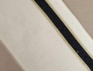 Манжет (довяз) трикотажный 90*8см (арт.3208) Белый с Черно/золотой полосой.