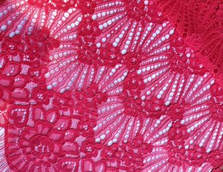"""Кружевная ткань """"Desire"""" c кордовой нитью (3286) Красный"""