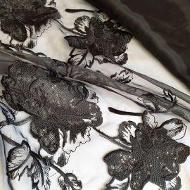 """Органза """"Пион"""" с вышивкой и пайетками. Черный"""
